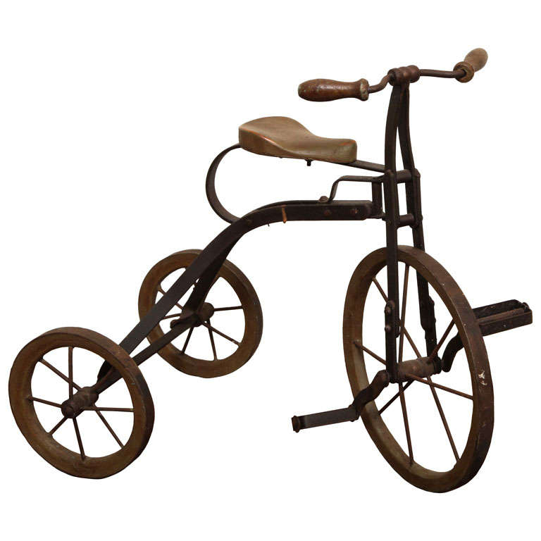 Antique Tricycle Toy in Iron and Wood from early 1900's