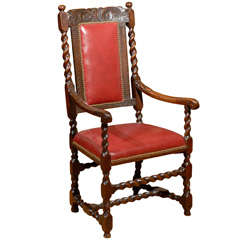 Turn of the Century English Carved Library Chair