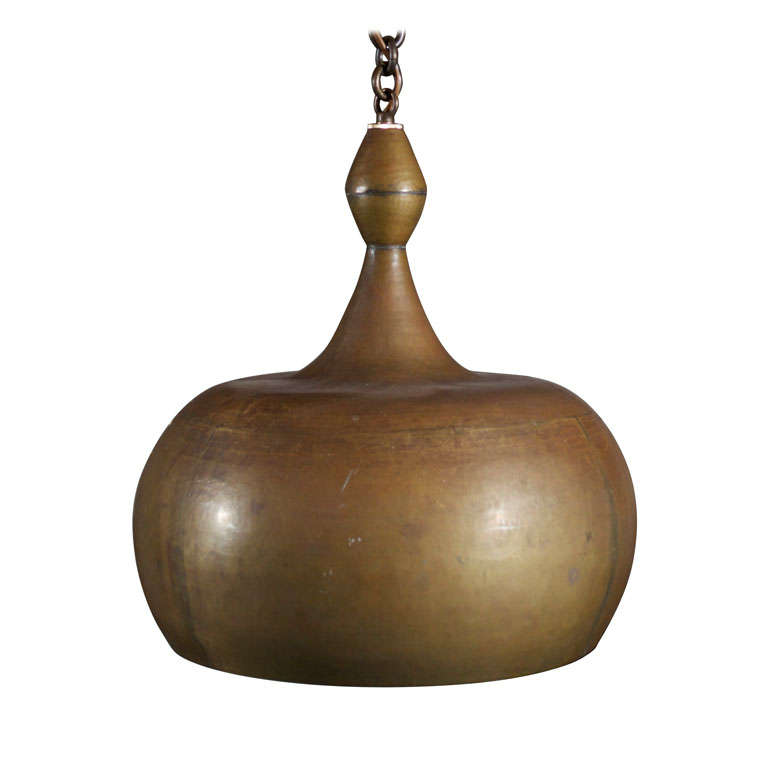 Hand Hammered Brass Bowl Form Pendant At 1stdibs