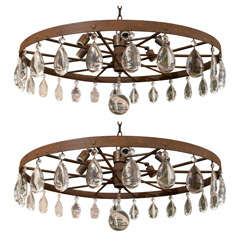 Rusted Wagon Wheel Chandelier