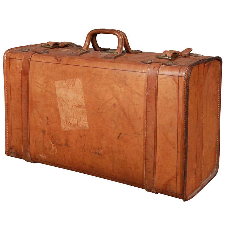 wonderful vintage leather suitcase at 1stdibs. Black Bedroom Furniture Sets. Home Design Ideas