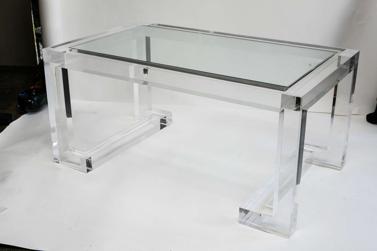 Acrylic and glass coffee table for sale at 1stdibs for Glass coffee tables for sale