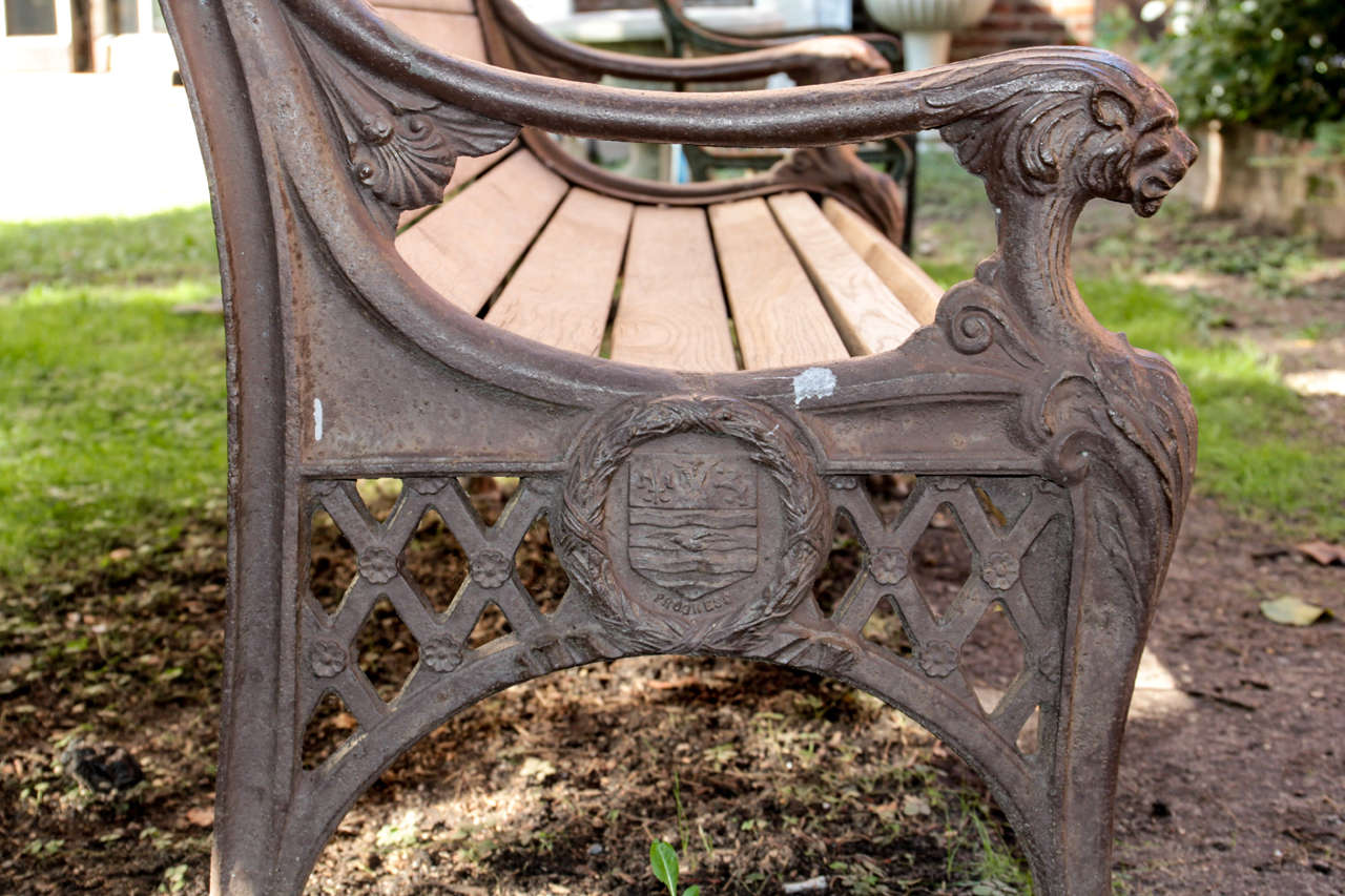 Cast Of Benched : Cast iron bench with lion head arms for sale at stdibs