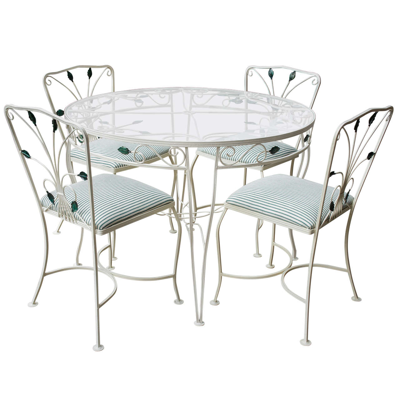A vintage woodard iron dining set for sale at 1stdibs for Woodard outdoor furniture