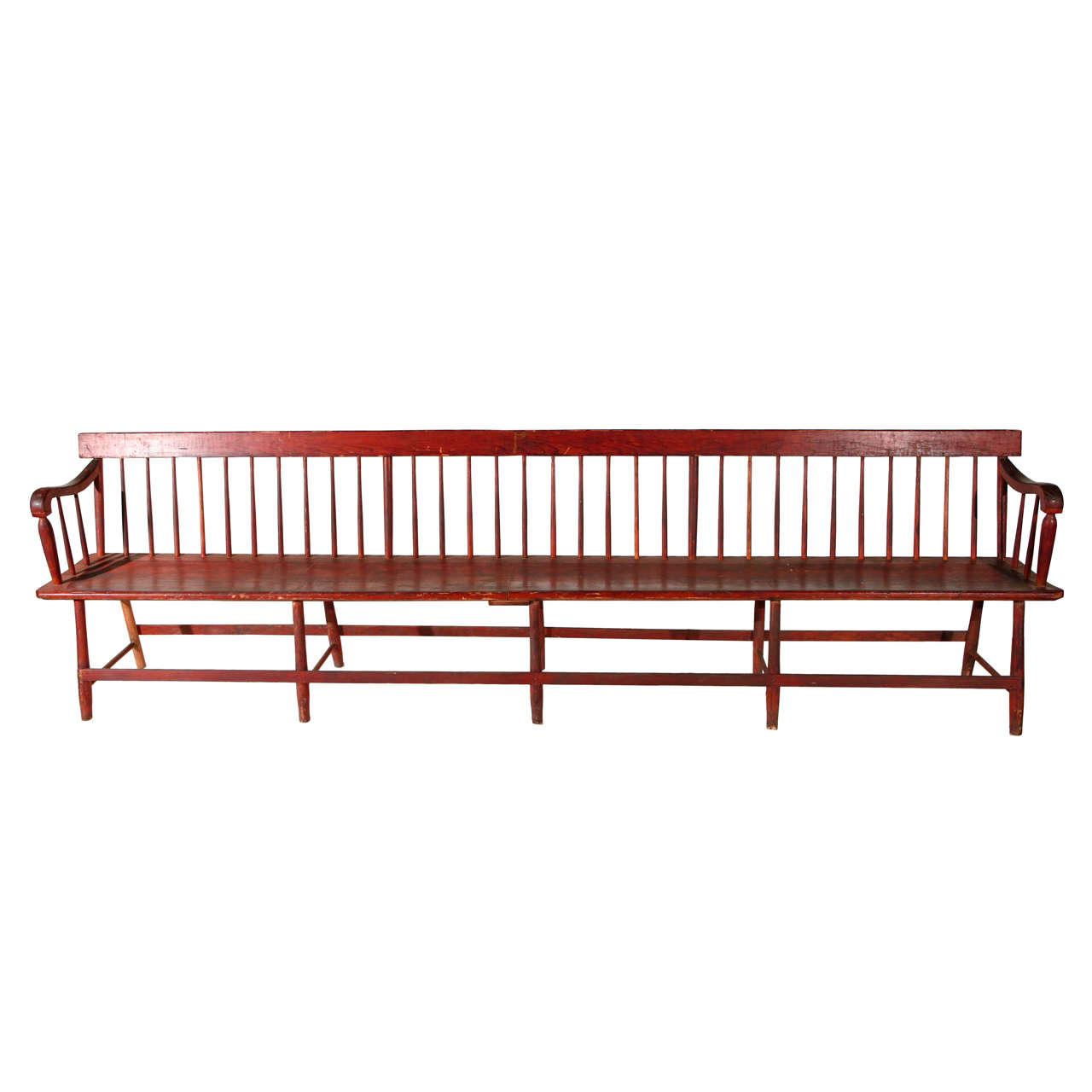 10 39 Long American Wood Bench At 1stdibs