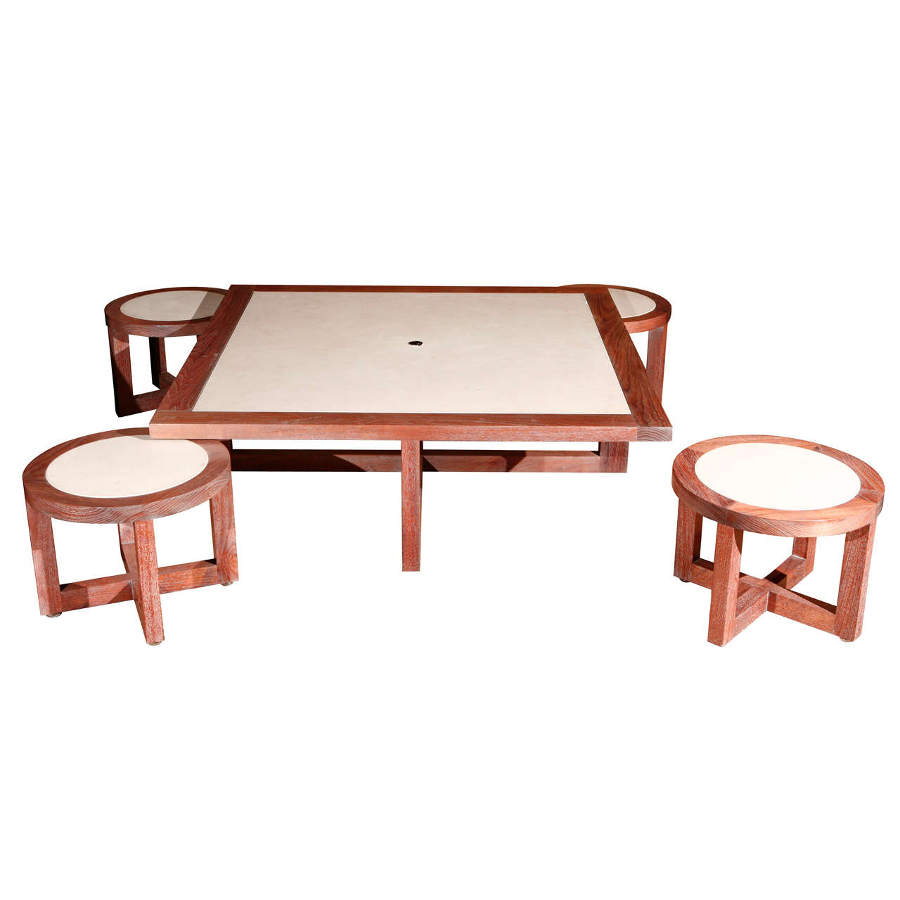 Low Table With Four Stools At 1stdibs