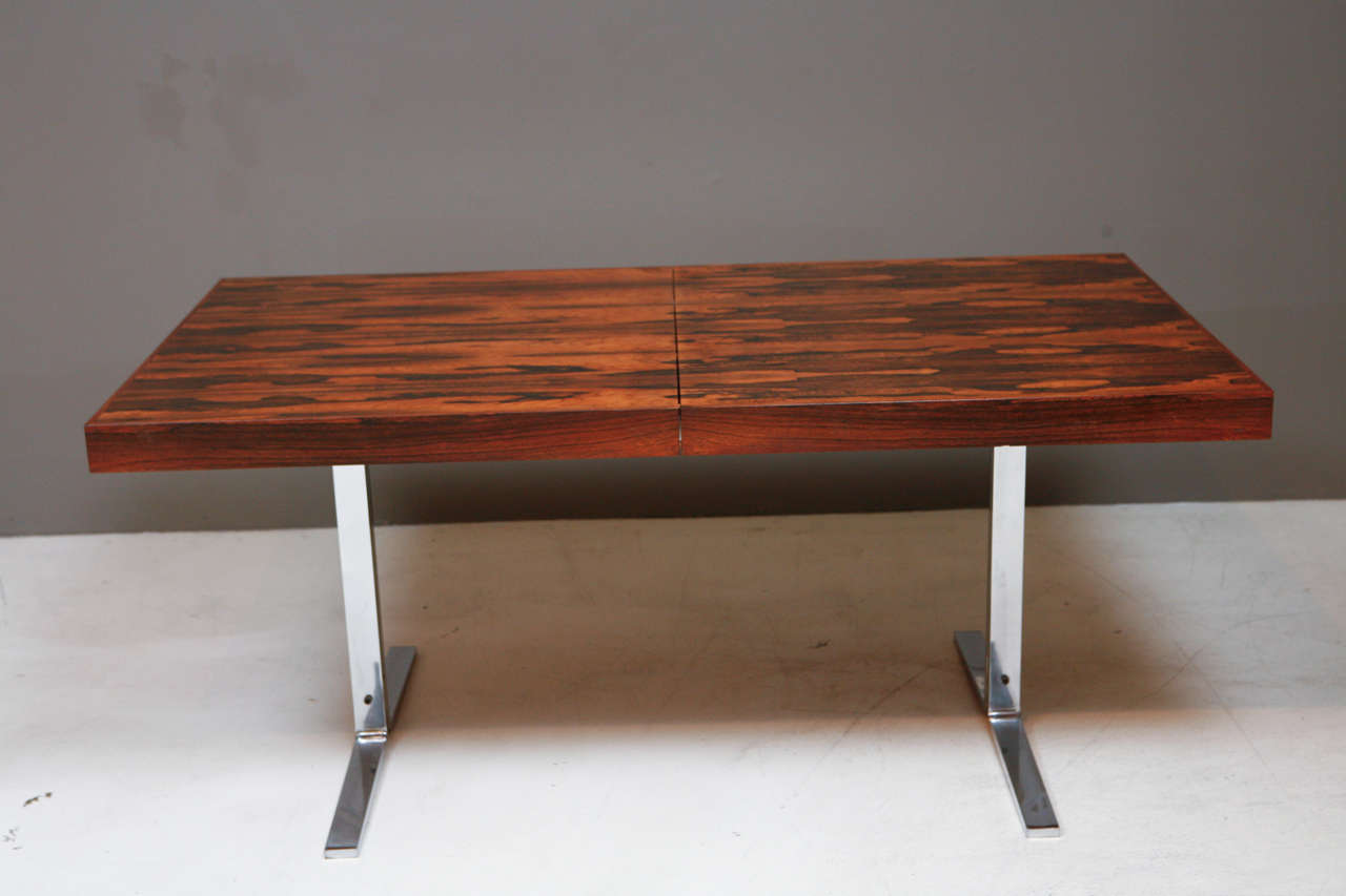 Rosewood and Chrome Dining Table with Hidden Leaf by Georg Petersens 1