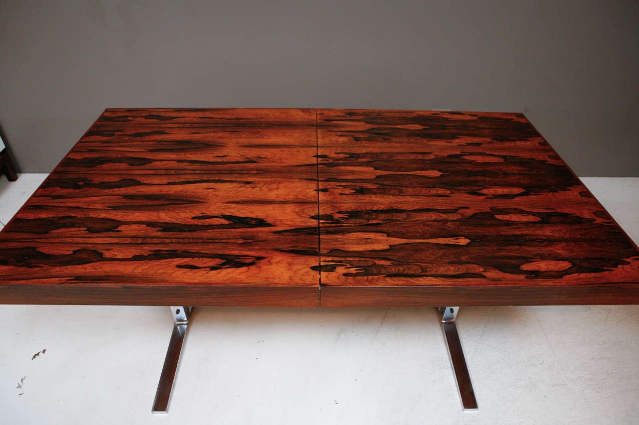 Rosewood and Chrome Dining Table with Hidden Leaf by Georg Petersens 2