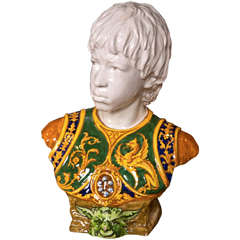Late 19th Century Majolica Bust of a Young Man