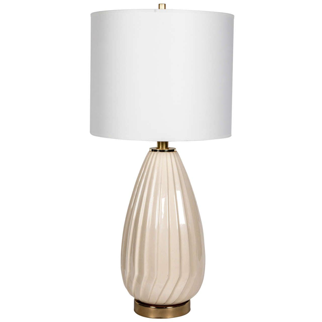 1960s Italian Ribbed Glass Table Lamp