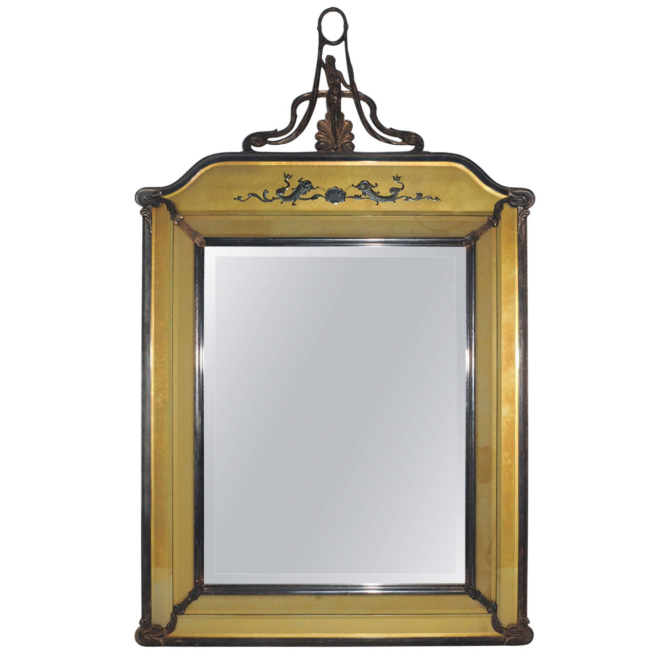 A silverplated double framed brass mirror in Art Nouveau style