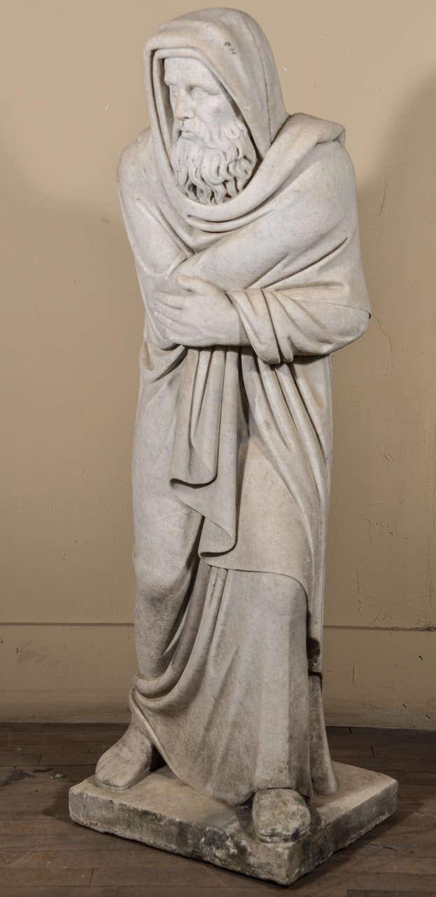 Italian statue of Carrara marble; a figural representation of the season winter, marked INVERNO at its base.