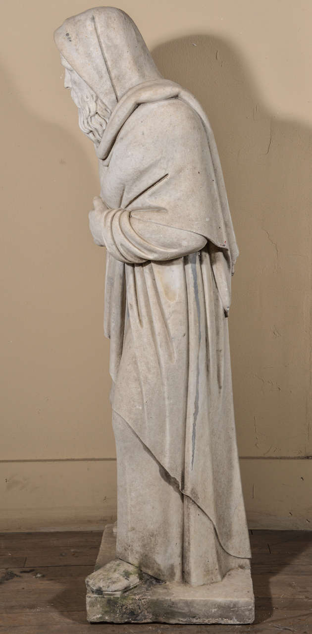 19th Century Carrara Marble Statue from Italy In Excellent Condition For Sale In Houston, TX