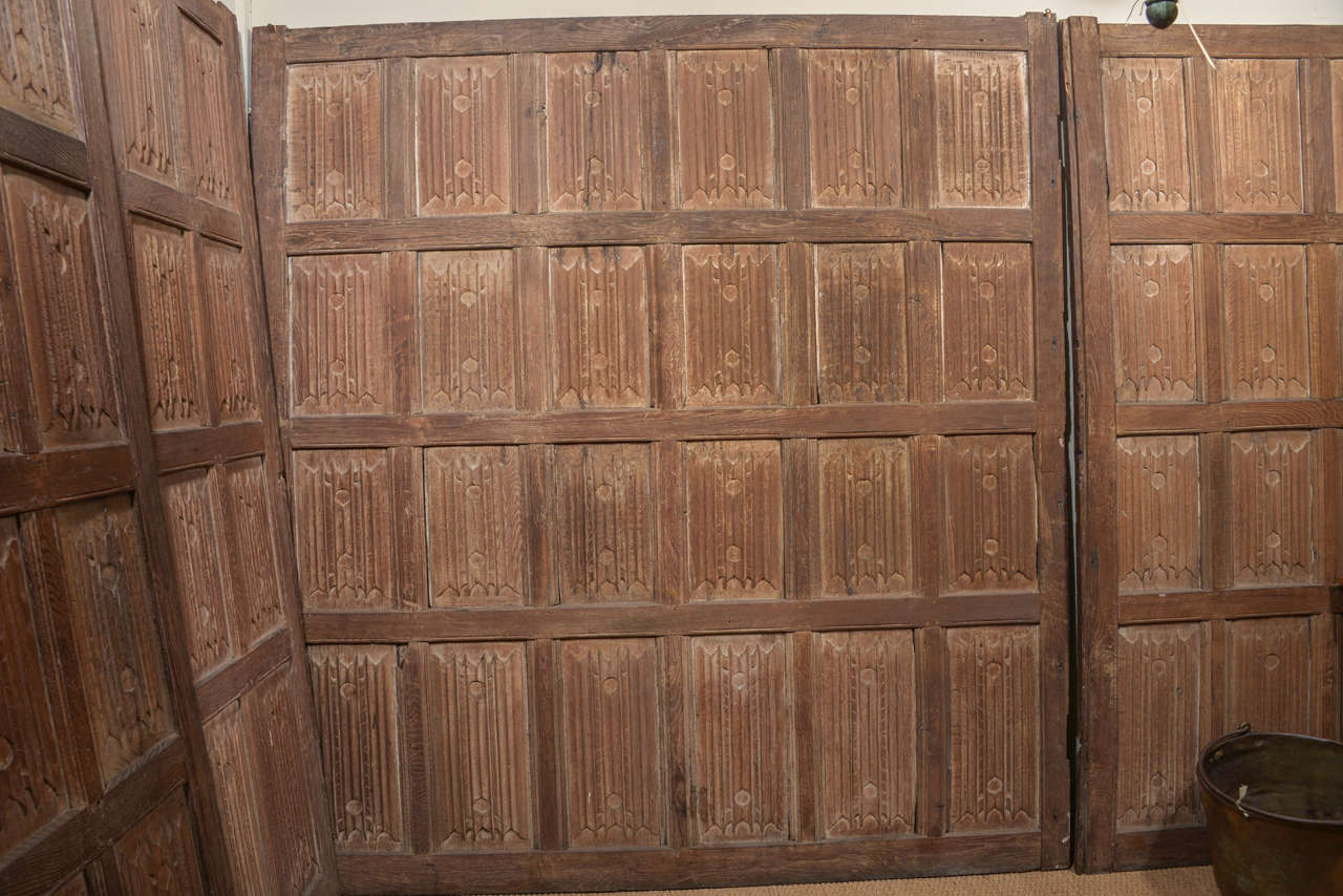 Set of Eleven 16th Century Carved Linenfold Wood Panels 5