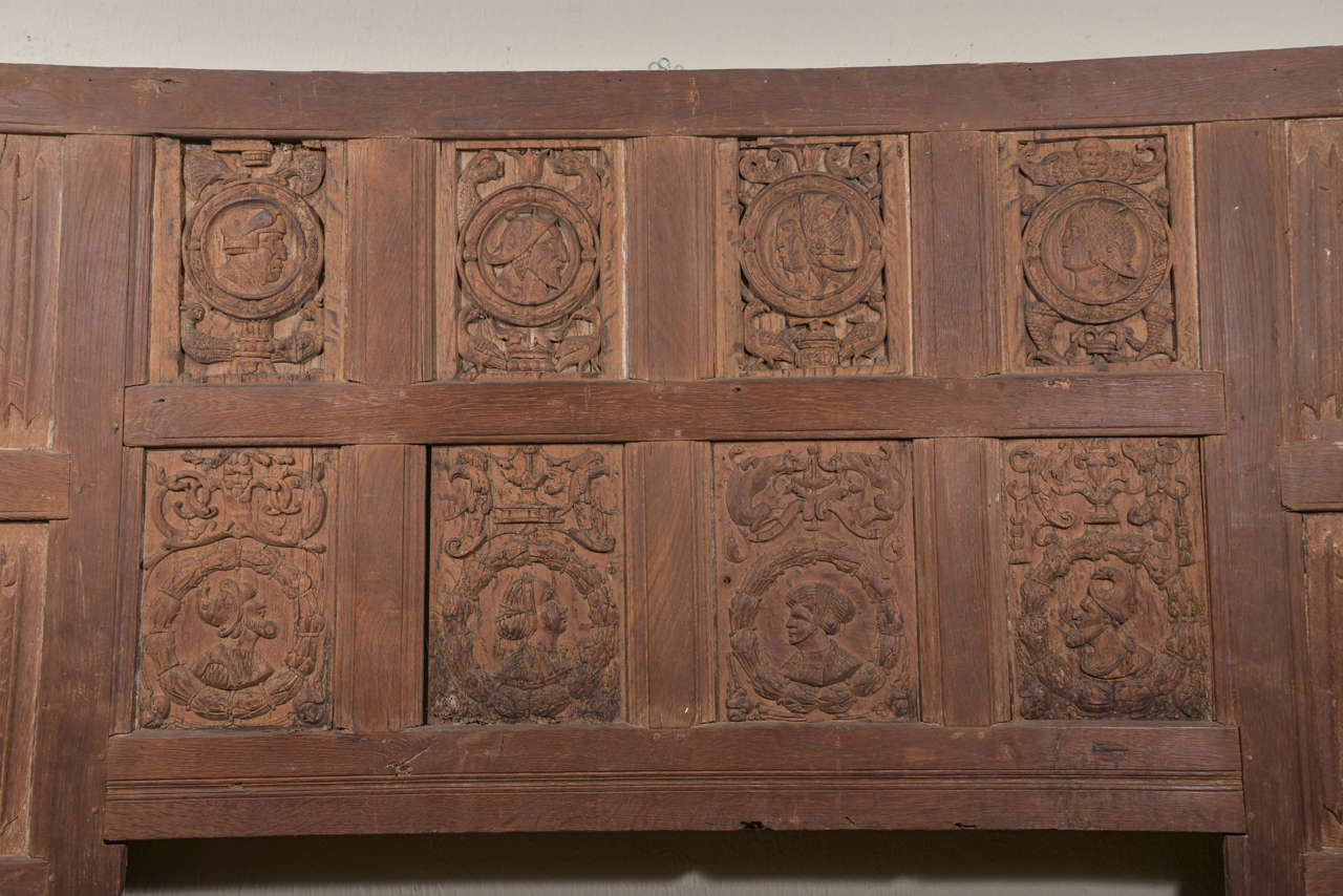 18th Century and Earlier Set of Eleven 16th Century Carved Linenfold Wood Panels For Sale