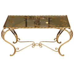 Wrought Iron Coffee Table in Gold Leaf and Mirrored Top, France, circa 1930s