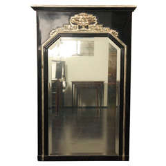 French Art deco Black and White Gold Leaf Wall Mirror