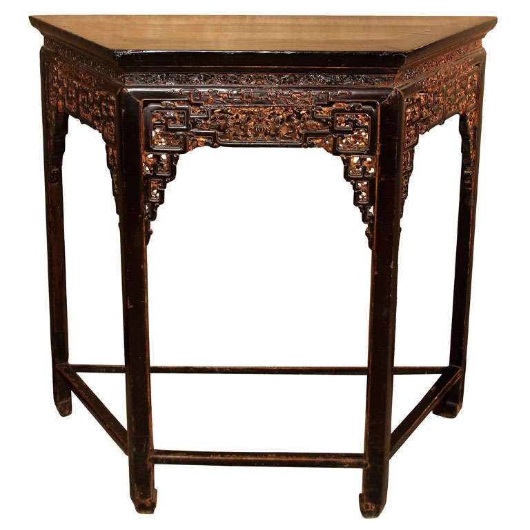 chinese carved and lacquered wood side table at 1stdibs