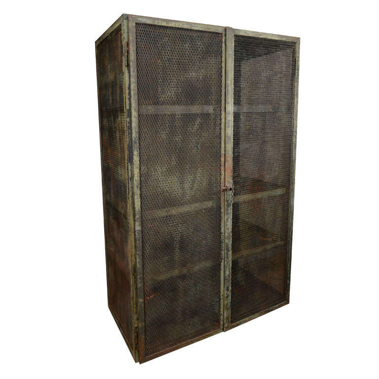 Rustic Metal Mesh Cabinet At 1stdibs