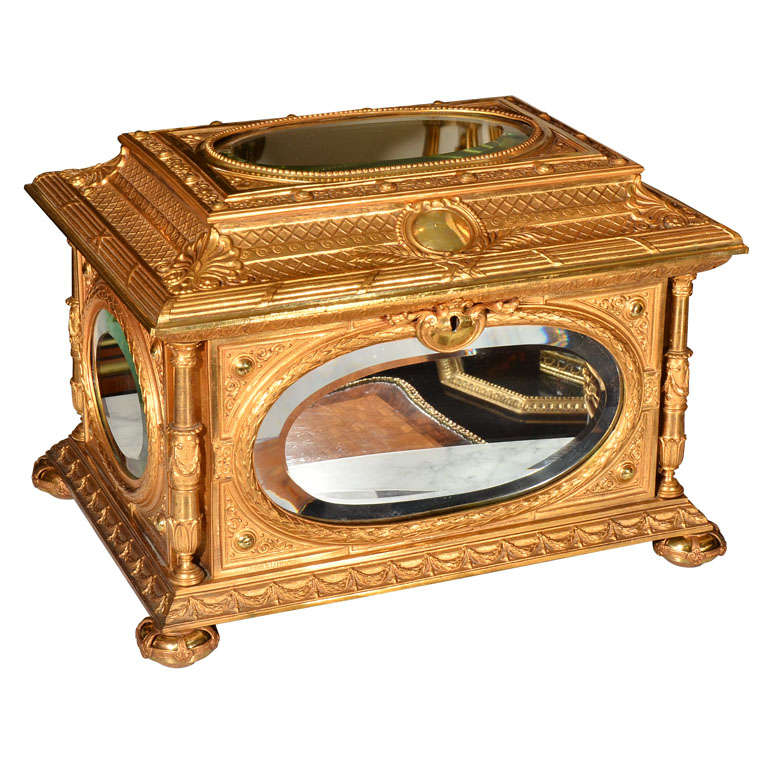 19th c large bronze dore table box