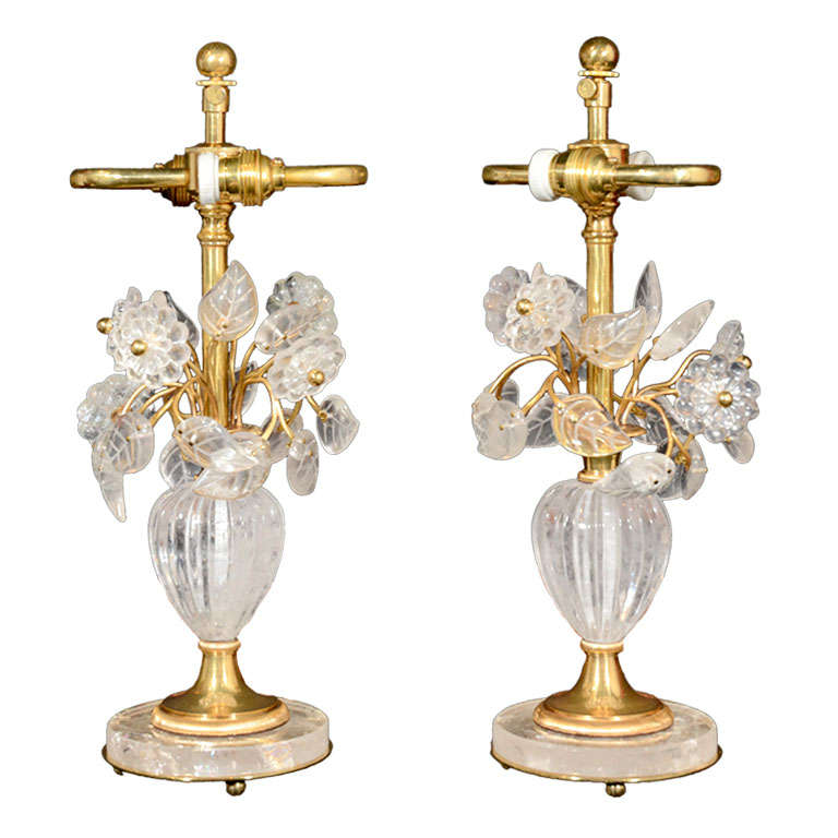 gilt bronze and rock crystal dressing table lamps by