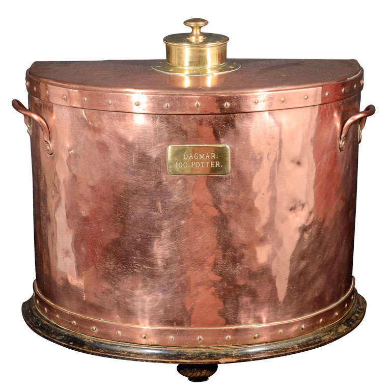 Copper and brass ship 39 s cabin hot water tank at 1stdibs for Copper hot water tank