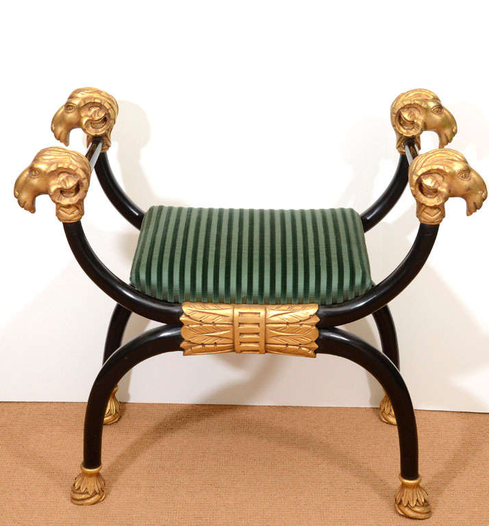 Regency Style Lacquer Bench with Gilt Carving 2