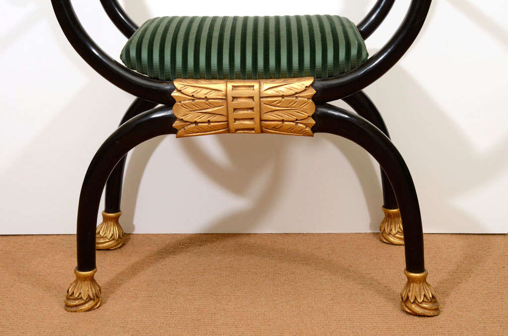 Regency Style Lacquer Bench with Gilt Carving 4