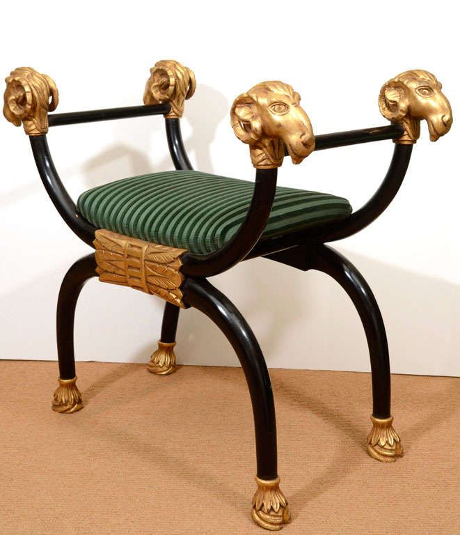 Regency Style Lacquer Bench with Gilt Carving 5
