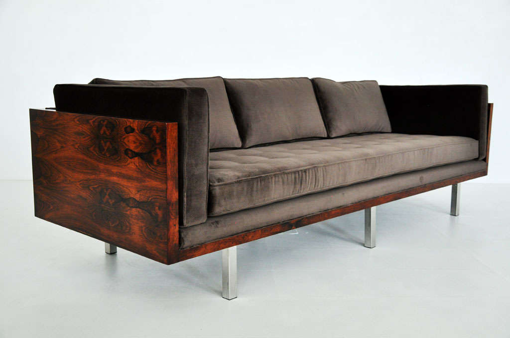 Rosewood case sofa by Milo Baughman for Thayer-Coggin. Figural rosewood grain with new velvet upholstery. Down filled back cushions.