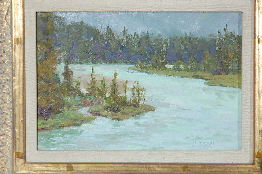 Post-Modern Tim Lawson Oil Painting on Board, Signed, Dated Landscape For Sale