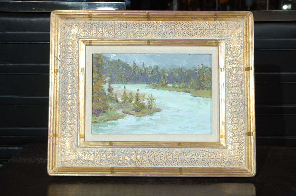 Traditional landscape for the very well known Wyoming artist Tim Lawson, signed and dated also copyright in the back 1986, Measures including frame 12 x 16 inches.