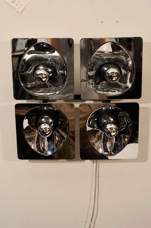 Modernist Four-Way Chrome Sconce & Wall Sculpture by Sciolari For Sale 3