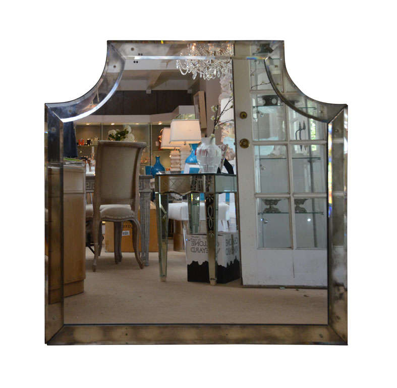 Mirror framed mirror with beveled glass at 1stdibs for Beveled glass mirror