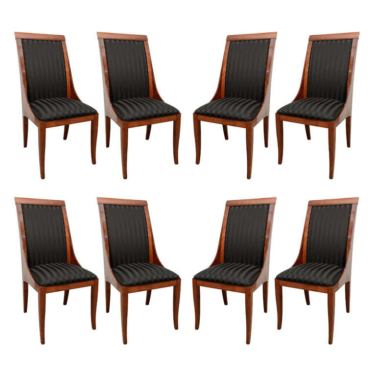 elegant set of 8 italian lacquered walnut dining chairs at