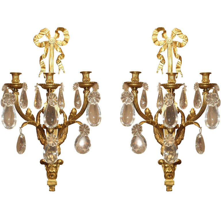 Pair Of Antique Ormolu Bronze And Baccarat Crystal Sconces