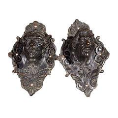 Pair  Bronze  Grotesque  Heads Door Handles