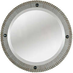 Modern Gear Style Mirror in Strie Finish