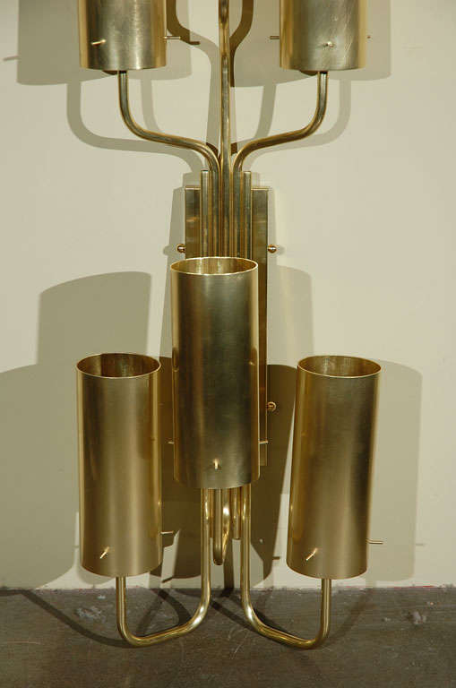 Pair of Contemporary Solid Brass Sconces by Peter Manukyan at 1stdibs
