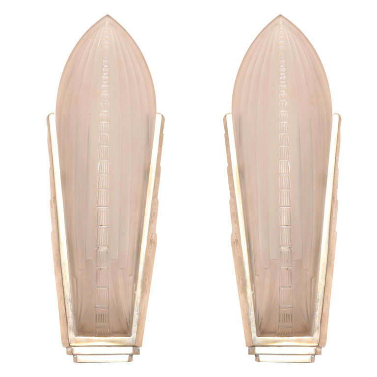 Pair of Art Deco Wall Sconces by Gênet et Michon