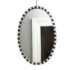 Oval Irish Mirror with Faceted Blue and White Enameled Jewels, circa 1785