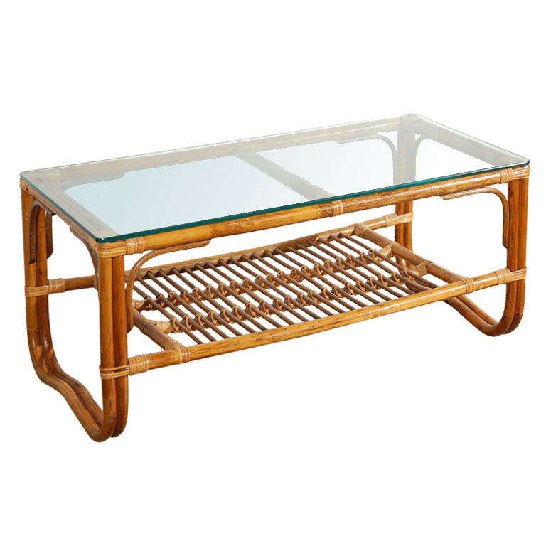 Vintage Rattan Bamboo Glass Topped Coffee Table At 1stdibs