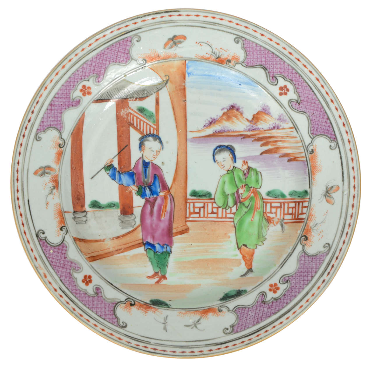 18th C. Chinese Porcelain, Famille Rose Plate, Qing ...