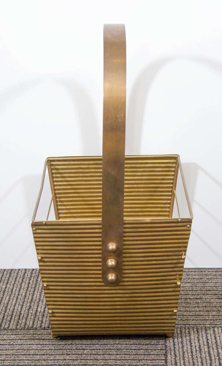 Mid-Century Modern Italian 1950s Brass Magazine Basket For Sale
