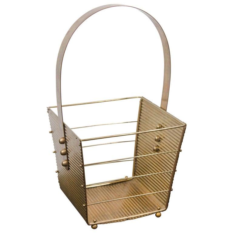 Italian 1950s Brass Magazine Basket For Sale