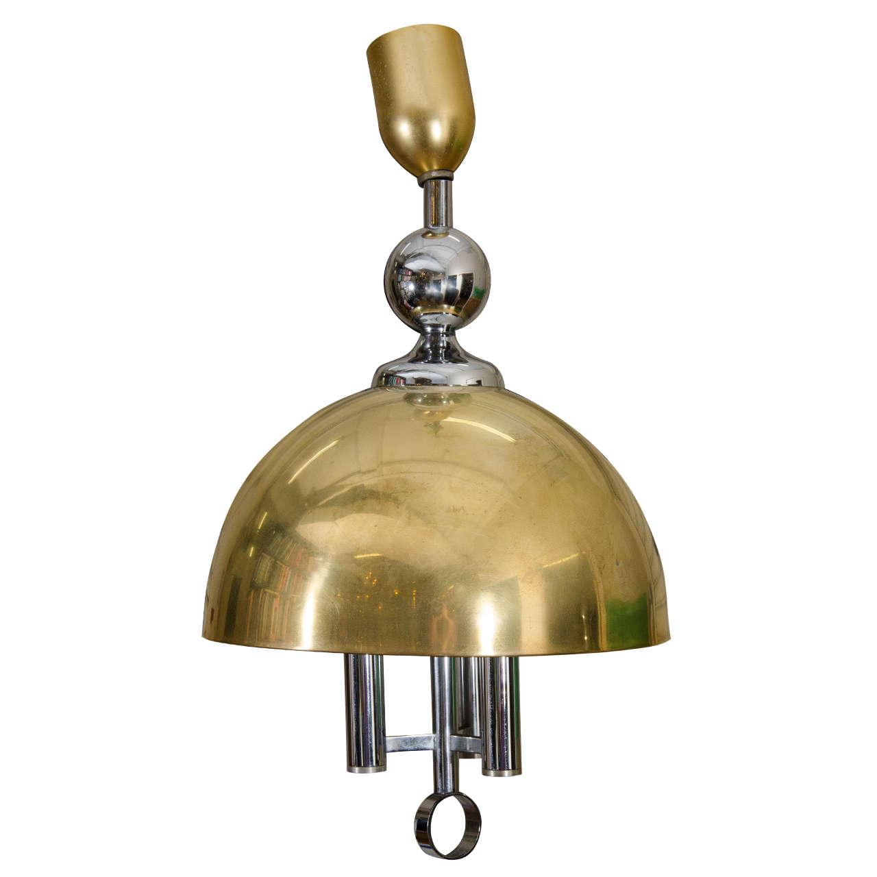 Midcentury Brass and Chrome Dome Pendant
