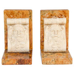 Art Deco Pair of Wood and Alabaster Bookends with Male Faces