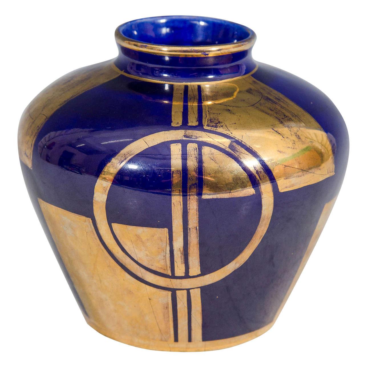 Paris Porcelain Art Nouveau Period Lamp Chinese Taste: Art Deco Cobalt Blue Sevres Vase At 1stdibs