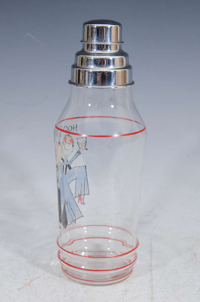 An Art Deco rare and whimsical hand painted cocktail shaker by American artist John Held, Jr.  Decorated with his iconic images of a flapper and a max in tux drinking. The title is,