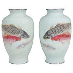 Vintage Pair of Ando Jubei Studio Cloisonne Vases